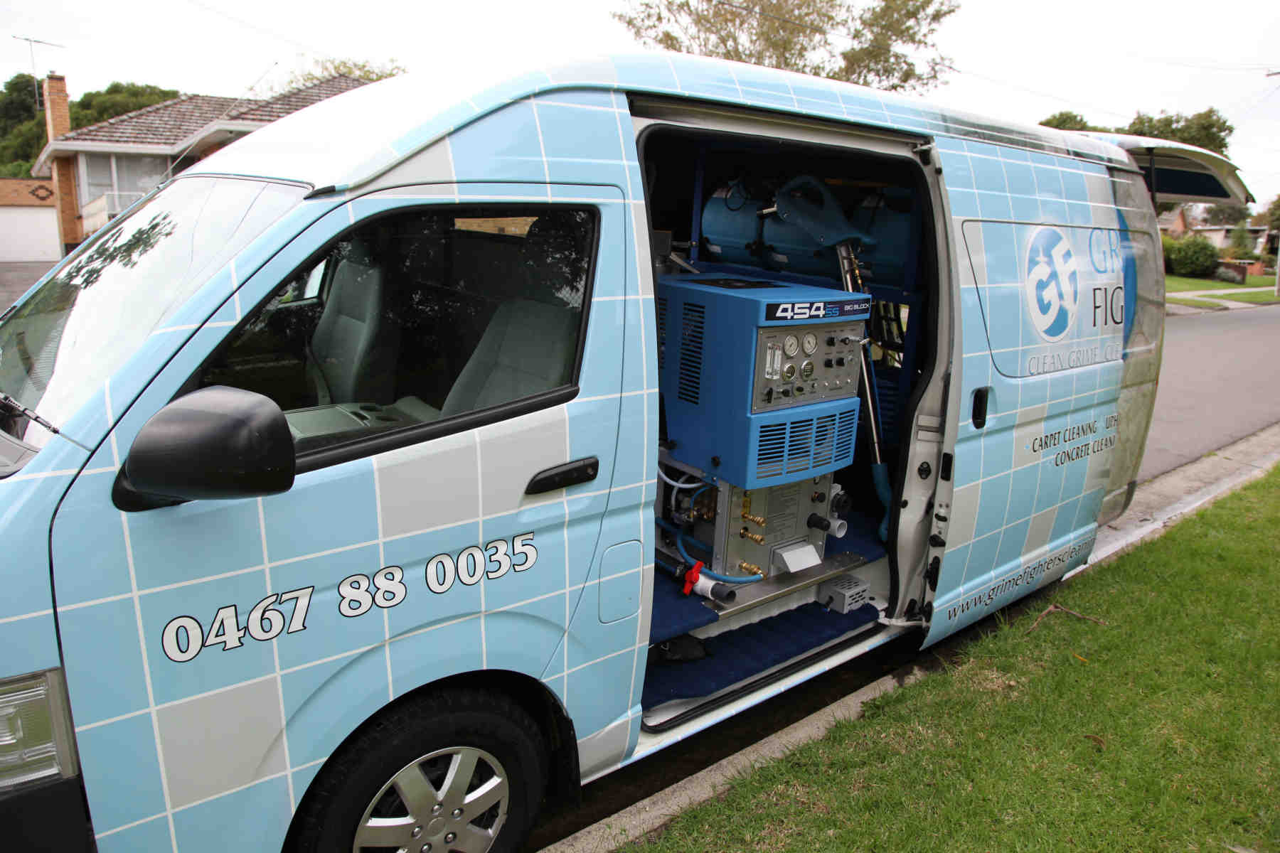 Carpet Cleaning Melbourne - Grime Fighters van and truckmount