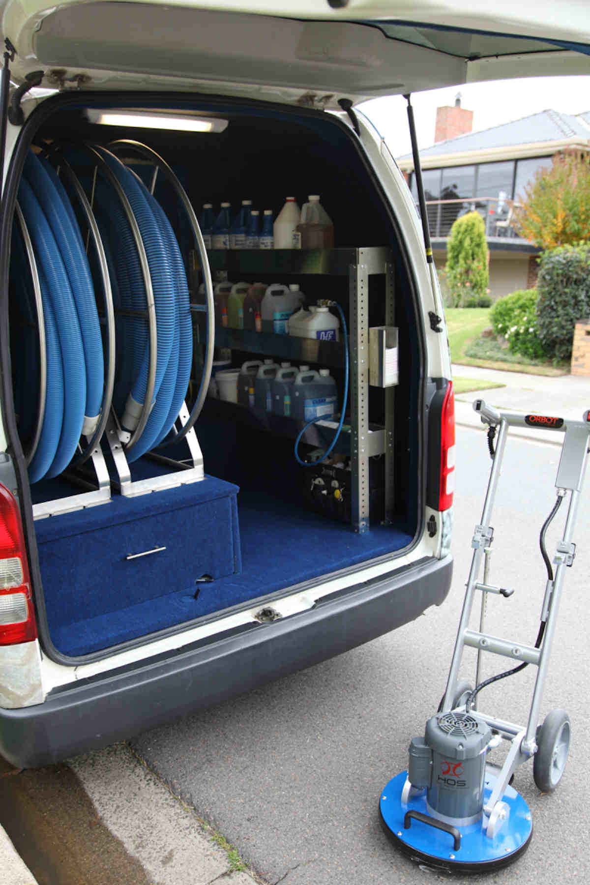 About local carpet cleaning company Grime Fighters Cleaning - Van with latest equipment and cleaning solutions