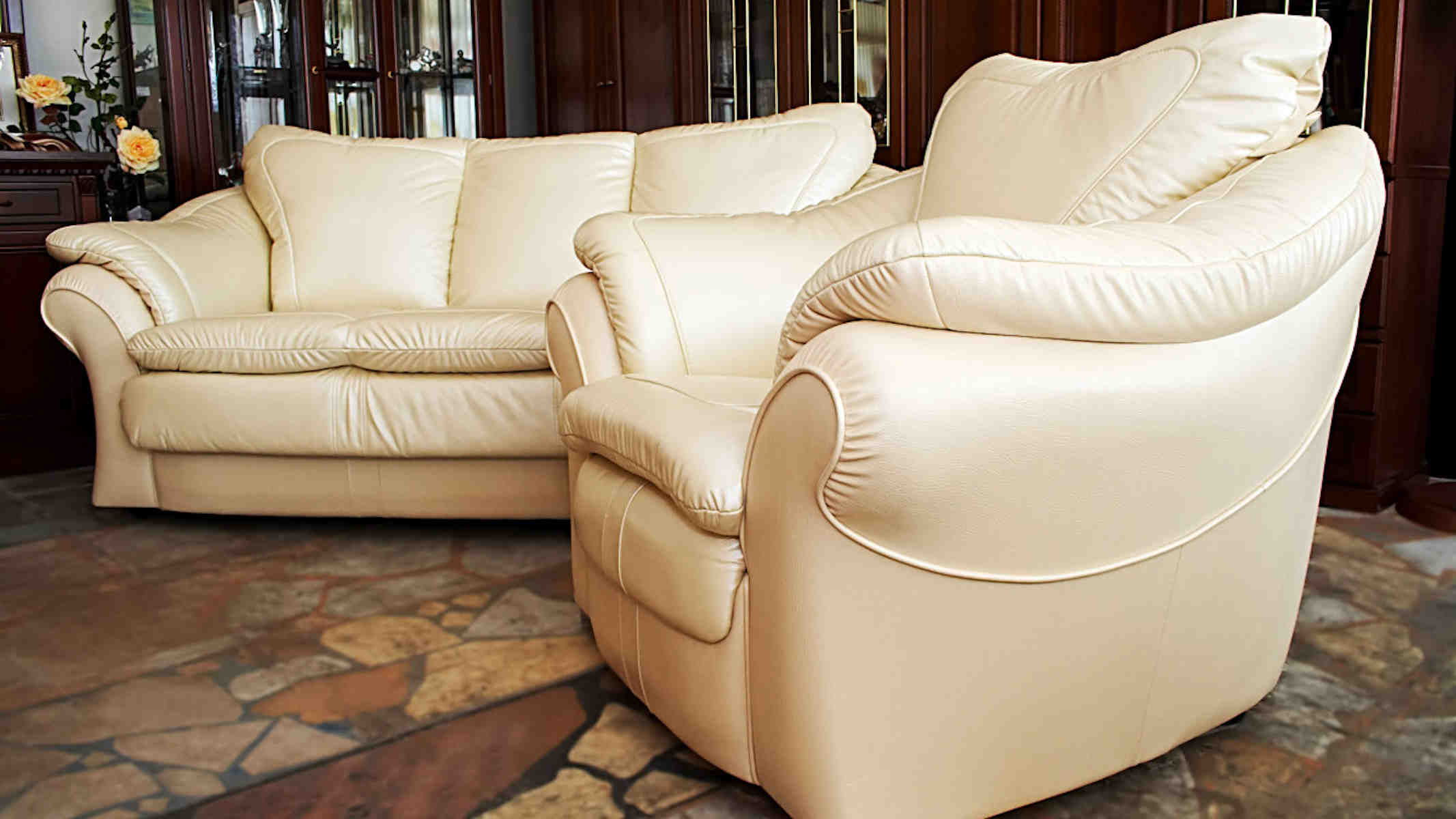 Leather Cleaning - Designer lounge suite