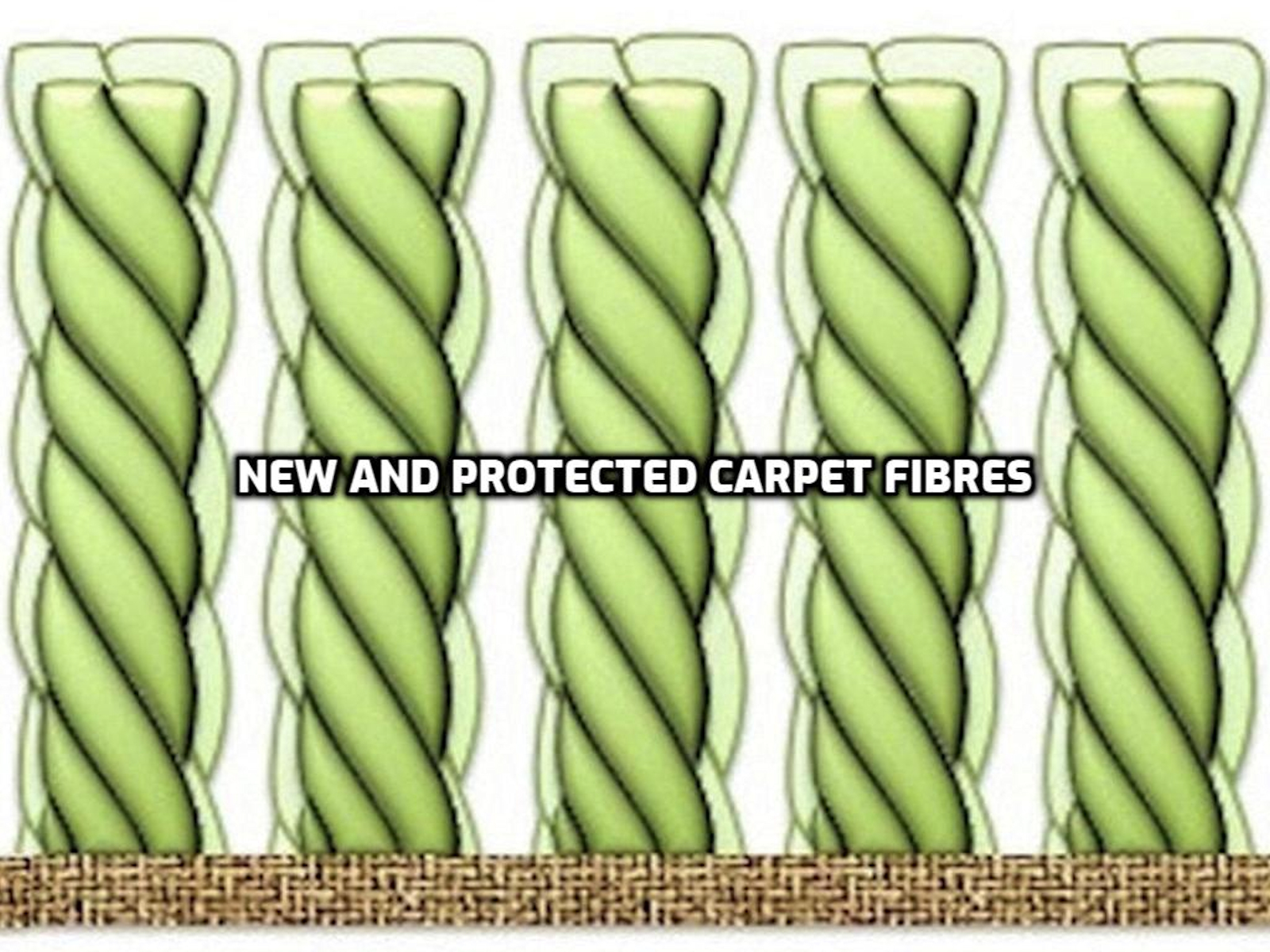 Carpet protector coating on new and protected carpet fibres