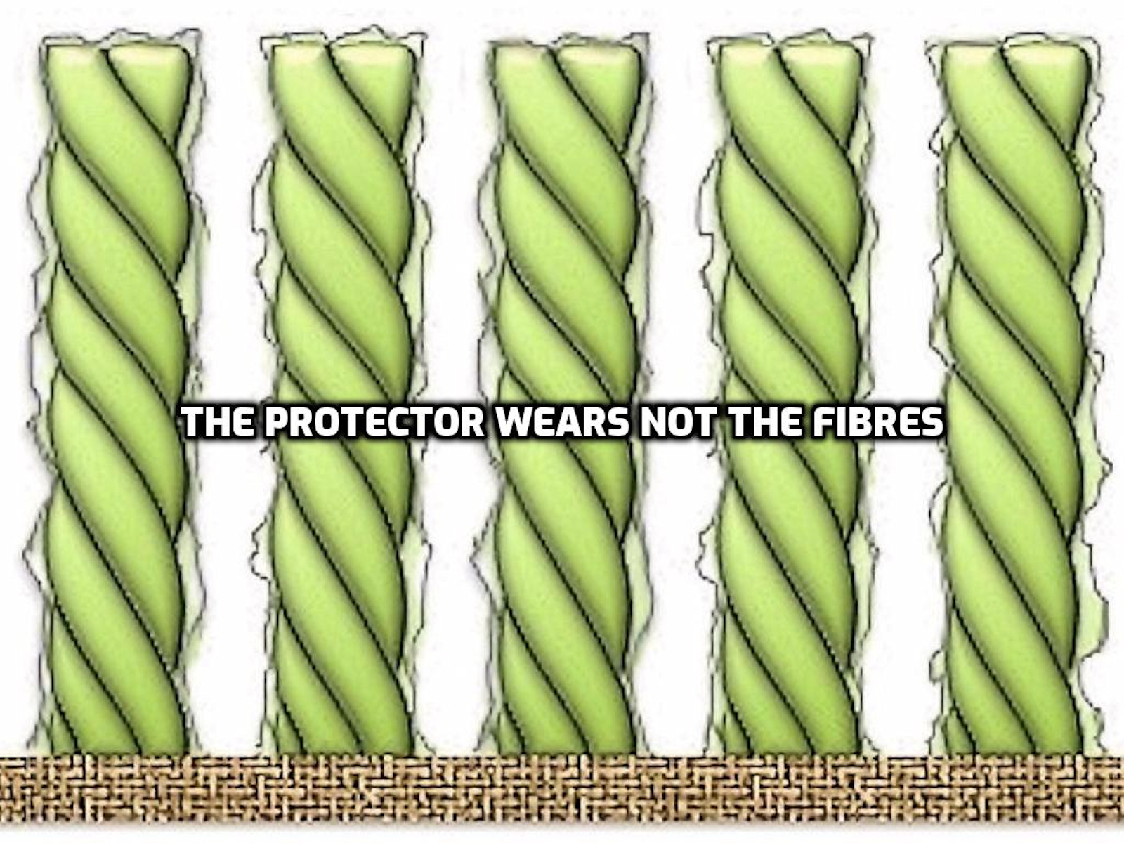 Carpet protector coating wears but not the fibres