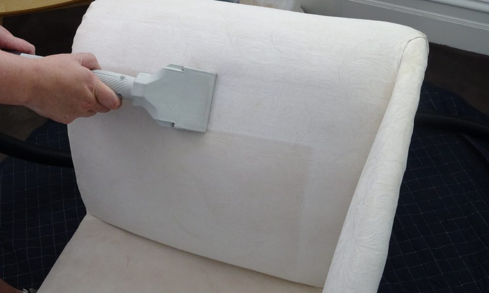 Upholstery Cleaning Melbourne - Cleaning a Haitian cotton chaise with a special low moisture upholstery steam cleaning tool